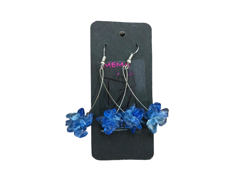 Mema Designed Lyli Chip Blue Clustered Beaded Drop Dangly Fashion Earrings