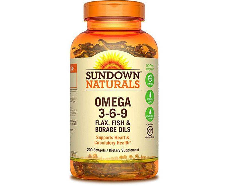 Sundown Naturals Omega 3-6-9 For Heart and Circulation 200 Softgels