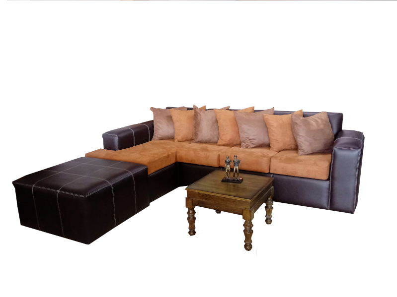 Roshley 3-piece Modern Reversible Leatherette Sectional Sofa Set with Ottoman