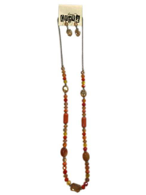 Panaj Shades Of Orange Shapes Of Orange Long Bead Necklace Matching Dangly Earrings Fashion Jewelry