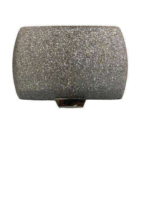 Evening Silver Square Hard Case Dazzling Glitter Clutch Handbag Metallic Flap Clasp Purse