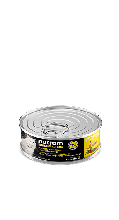 T24 Nutram Total Grain-Free® Trout and Salmon Meal Recipe Wet Cat Food Case size 24 Cans