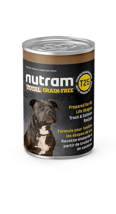 T25 Nutram Total Grain-Free® Trout and Salmon Meal Recipe Wet Dog Food Case of 12 Cans