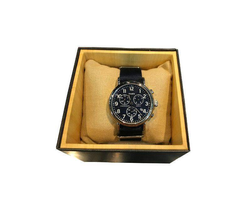Timex chronograph black face black band watch