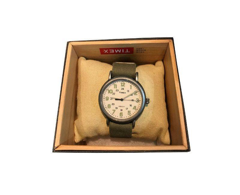 Timex watch olive strap and cream face