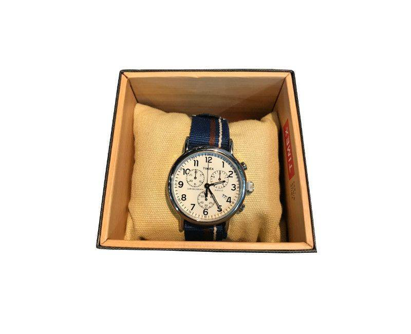 Timex white face chronograph with navy blue striped nautical band
