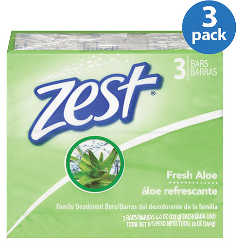 Zest Fresh Aloe Bath Soap 3 bars 4oz
