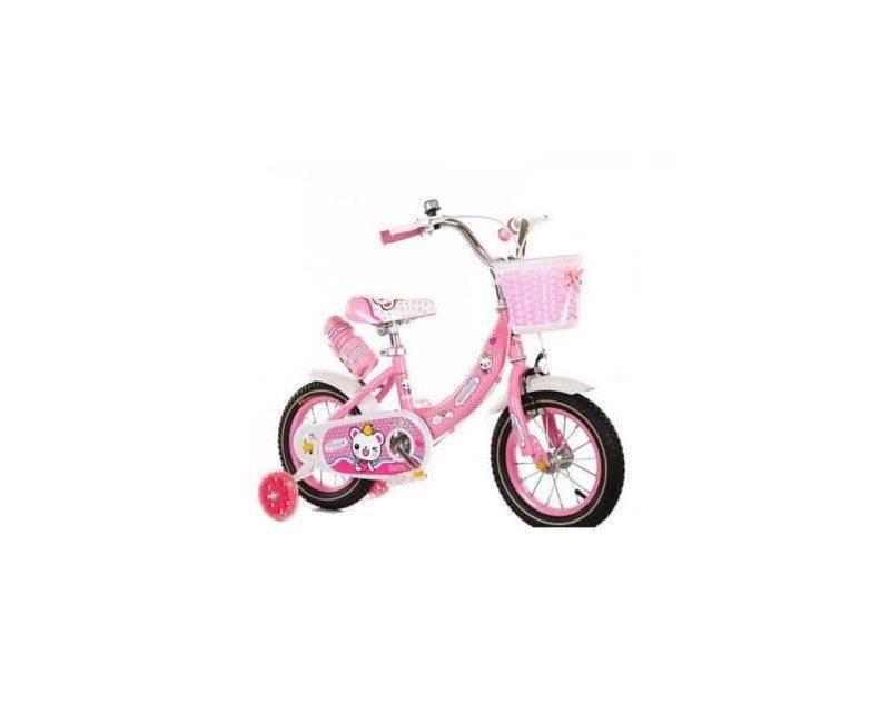 12 Inch pink bike with black wheels, training wheels, water bottle holder and basket