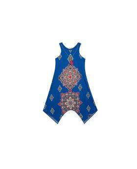 Royal Multi Printed  Dress With Necklace