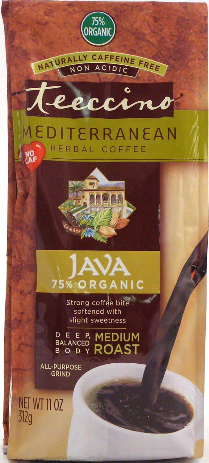 Teeccino Caffeine-Free Herbal Coffee Alternative -Java 11oz Bag 75% Organic -30 servings