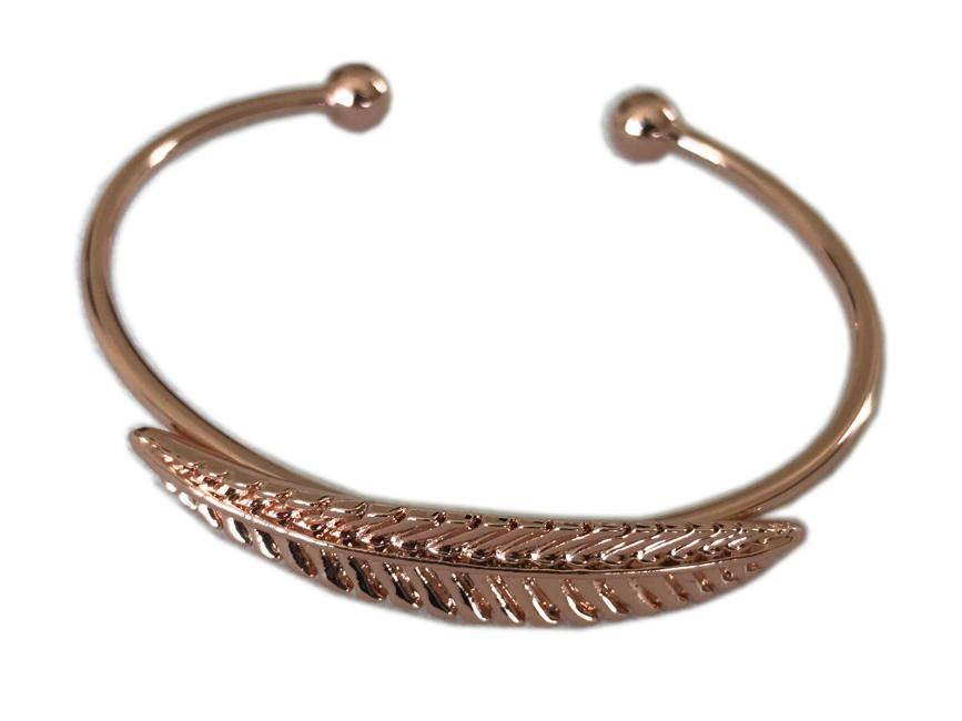 Melon Rose Gold Open Leaf Metal Bangle Bracelet Fashion Jewelry For Women
