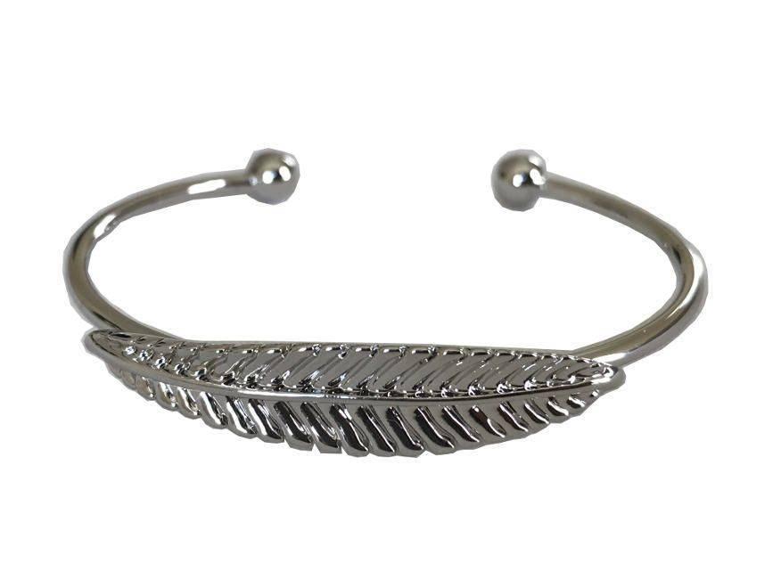 Attitude Silver Metal Silk Open Leaf Hugger Bangle Bracelet