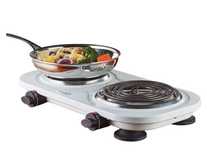 Brentwood White Double Electric Burner