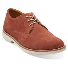 Clarks Raspin Plan Red Suede Mens Oxford Shoes -7.5