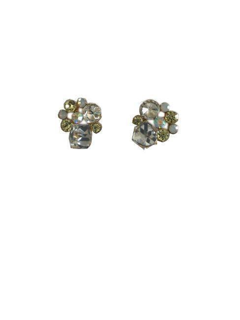 Honey Attitude Button Clustered Clear, Yellow And White Stone Stud Earrings