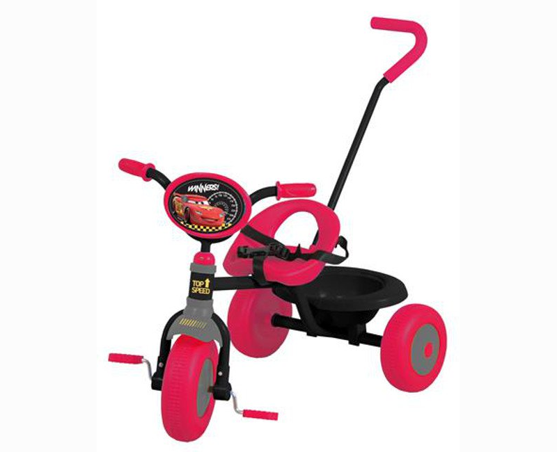 Disney Cars Black And Red Tricycle With Guide