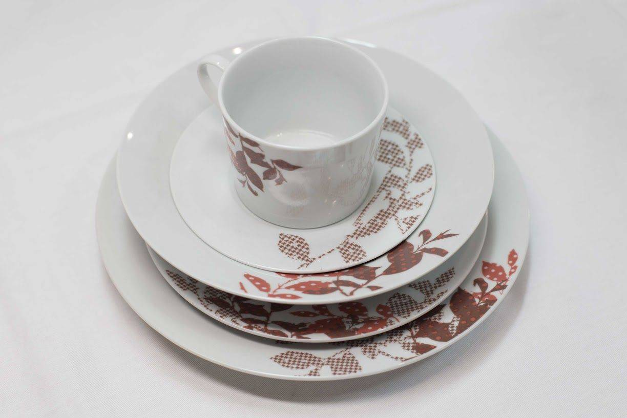 Everyday Living 20 Pc. Round Dinner Ware Set in White with Red Leaf Design