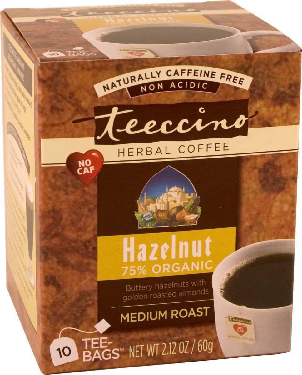 Teeccino Caffeine-Free Herbal Coffee Alternative-Hazelnut 75% Organic Tee Bags-10 servings