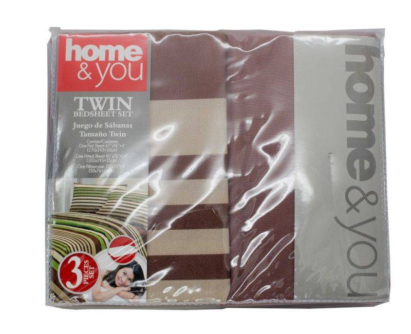 Home and You Brown and Green Twin Size 3 Piece Bedsheet Set