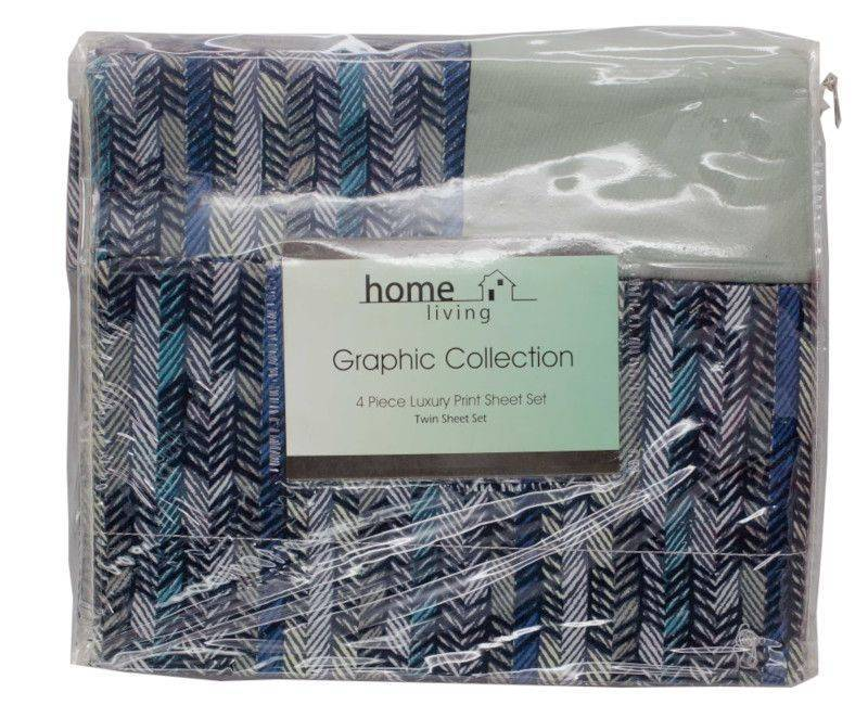 Home Living 4 Piece Graphic Collection Twin Sheet Set