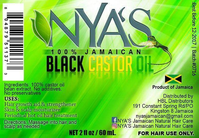 Nya's Jamaican Black Castor Oil 2 oz label