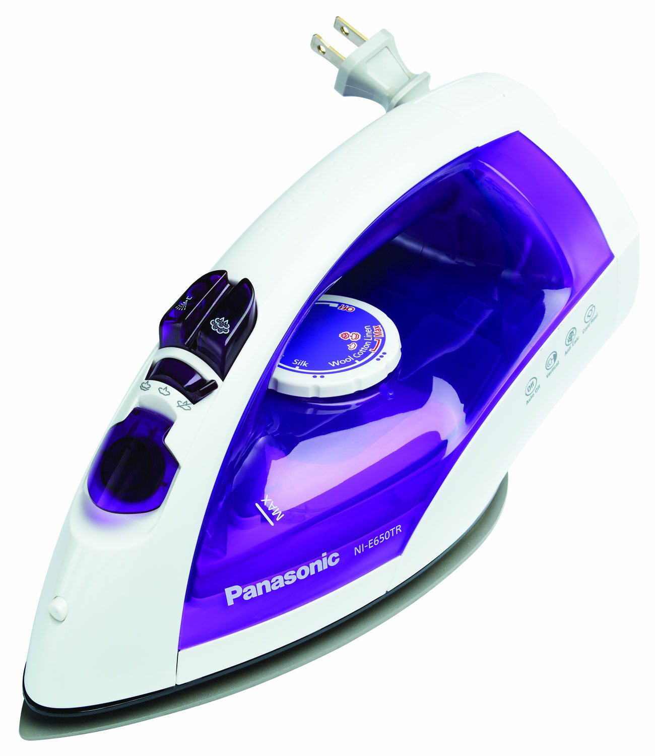 Front-and-side-view-of-Panasonic-U-Shaped-Steam-Iron-NIE650