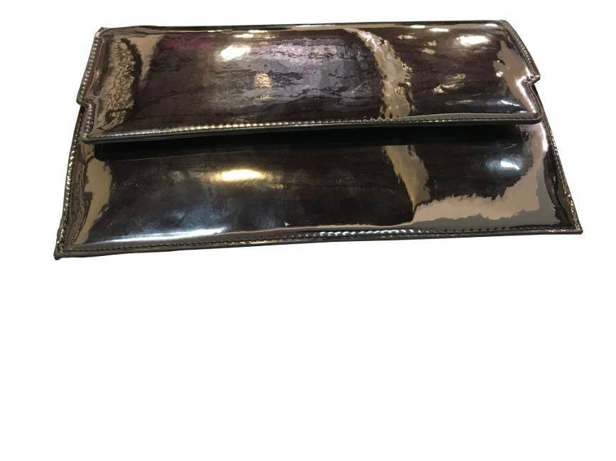 Pewter Urban Expressions Evening Patent Leather Envelope Clutch Purse Handbag