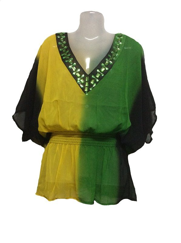 Polyester Georgette Cover Up Flag Print