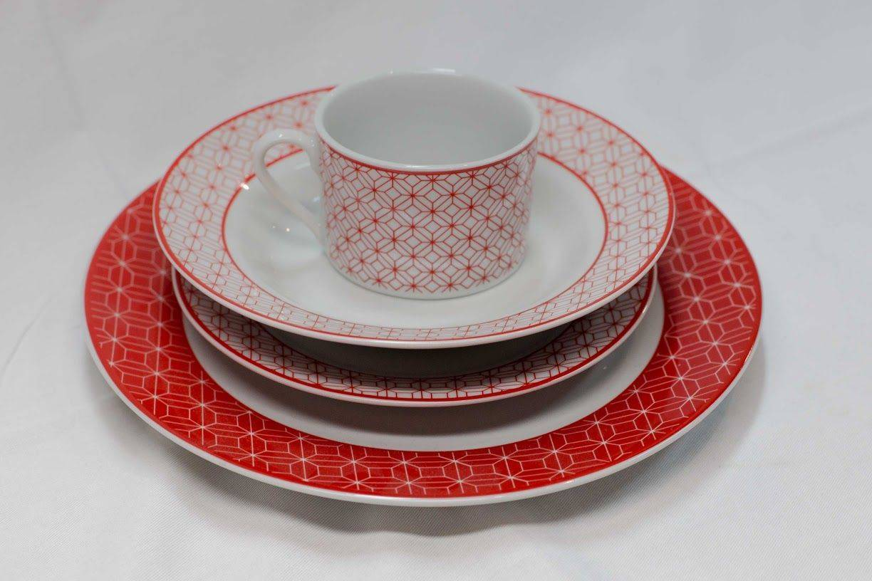 Casserina Kitchen 20 Pc. Dinner Set in Red and White Pattern
