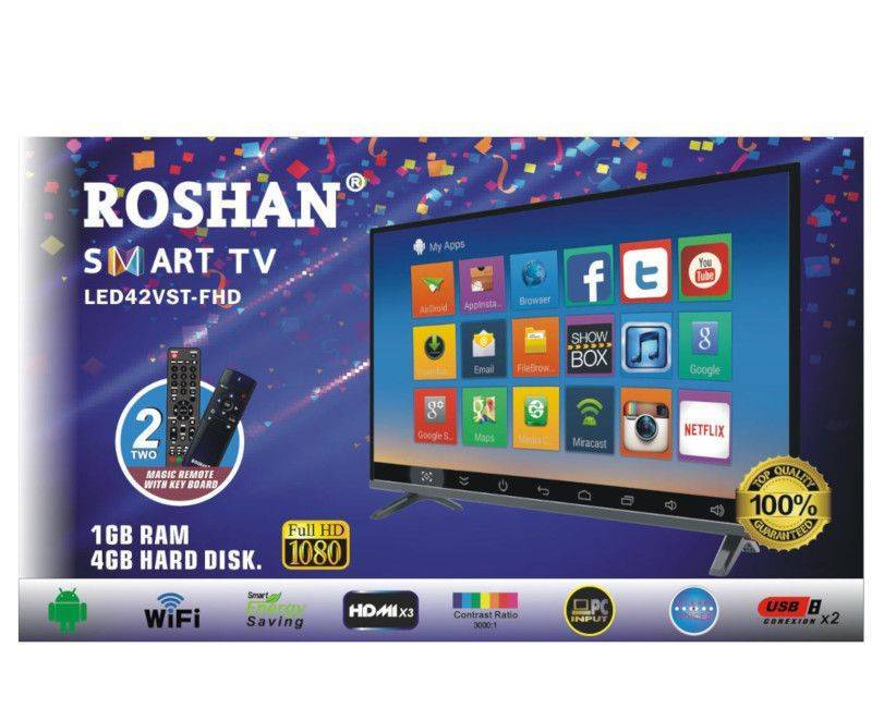 Roshan LED 42 VST - FHD SMART TV Full 1080 HD 2 Magic Remote With Keyboard Box
