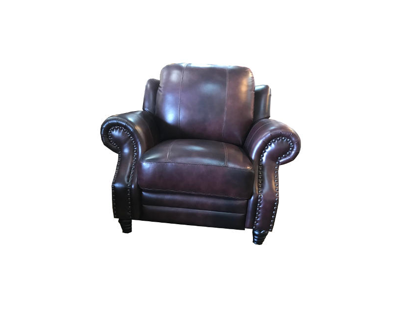 Single Seater Recliner 100% Leather Cherry Wood Color Chair With Studs