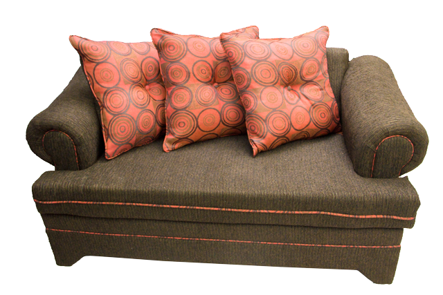 Front-view-of-Sunflower-2-Seat-Brown-and-Burnt-Orange-Sofa