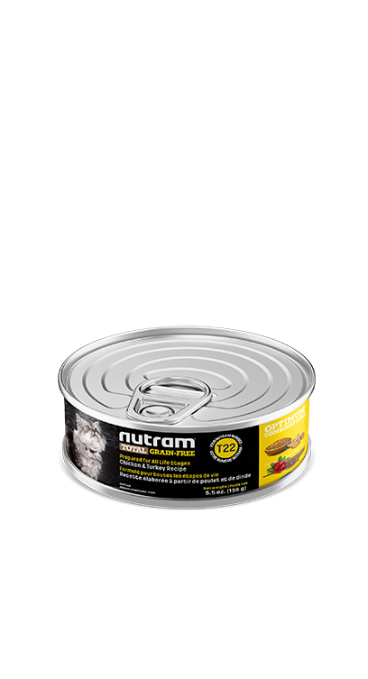 T22 Nutram Total Grain-Free® Chicken and Turkey Recipe Wet Cat Food  Case size 24 Cans