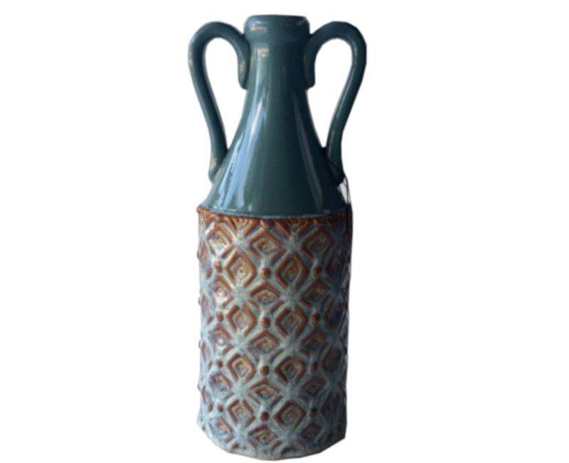 Tiago Teal Decorative Urn with Handle