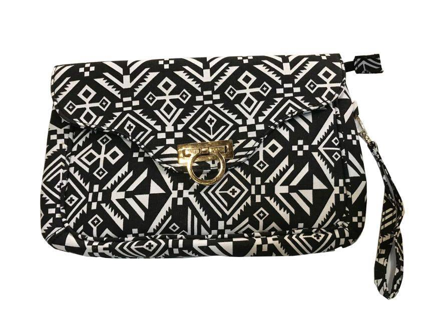 Black White Modern Geometric Tribal Aztec Print Wristlet Clutch Handbag with Gold Detail On Open Flap