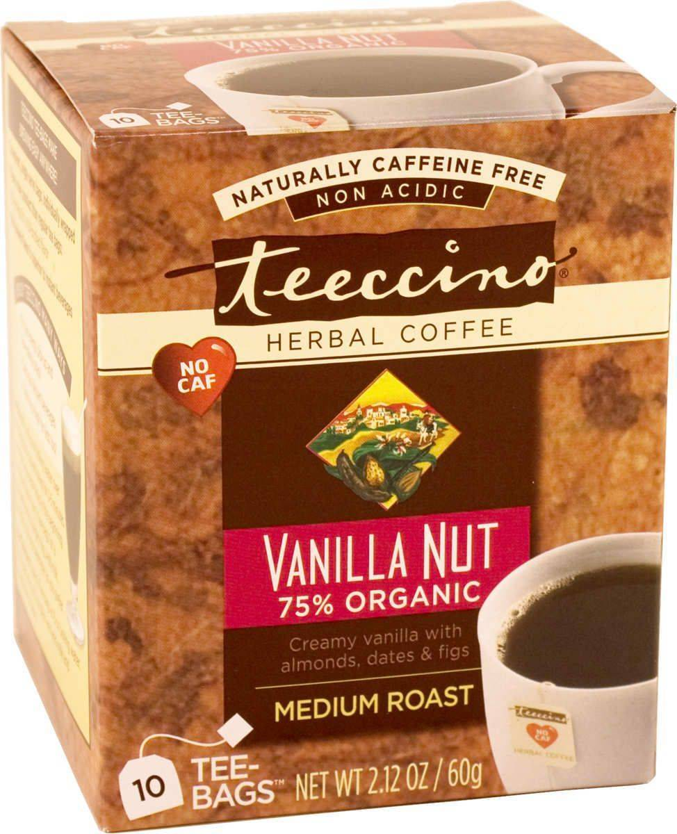 Teeccino Caffeine-Free Herbal Coffee Alternative-Vanilla Nut 75% Organic Tee Bags-10 servings