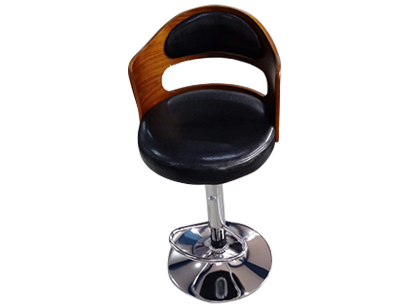 Brown Wood and Faux Leather Bar Stool