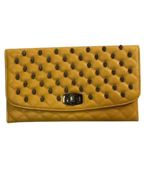 Yellow Quilted Skulls Stud Flapover Turn Lock Clutch Purse Handbag