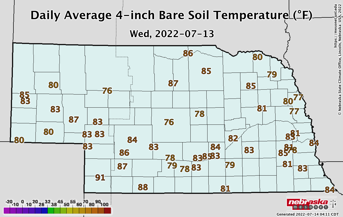 One-day average soil temperatures in Nebraska