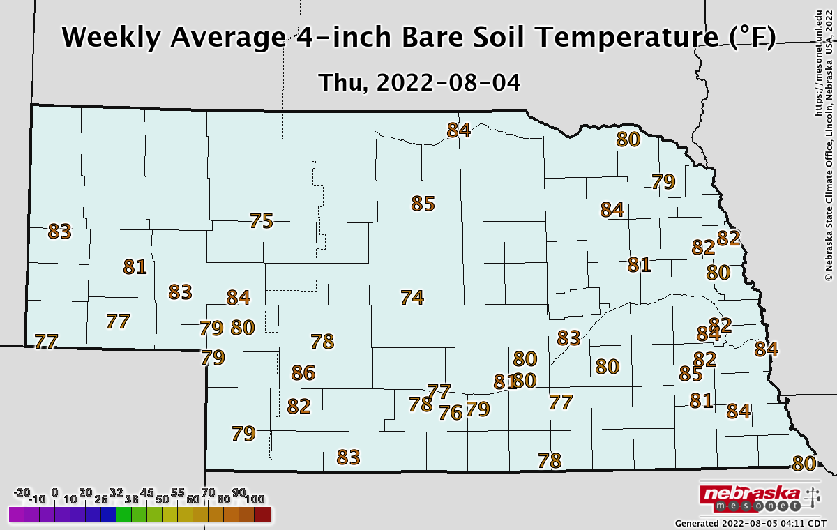 Seven-day average soil temperatures in Nebraska