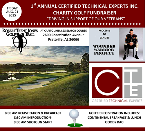 Certified Technical Experts, Inc. (CTE) is hosting our 1st Annual Certified Technical Experts, Inc. Charity Golf Fundraiser Tournament benefiting the Wounded Warrior Project.