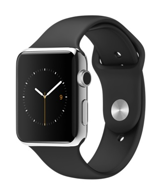 Buy Apple Watch 42mm Stainless Steel Case with Black Sport Band International Shipping