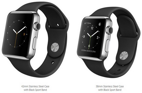buy popular 4083a a1e14 Buy Apple Watch 42mm Stainless Steel Case with Black Sport Band ...