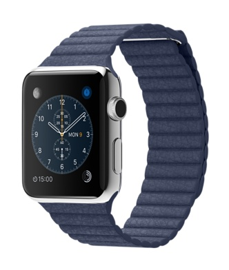 Buy Apple Watch 42mm Stainless Steel Case with Bright Blue Leather Loop International Shipping