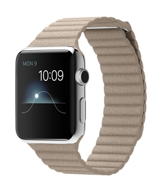 Buy Apple Watch 42mm Stainless Steel Case with Stone Leather Loop International Shipping