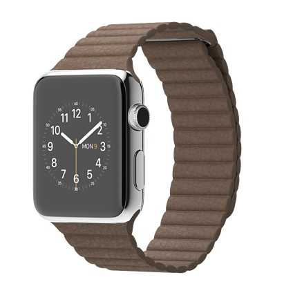 Buy Apple Watch 42mm Stainless Steel Case with Light Brown Leather Loop International Shipping