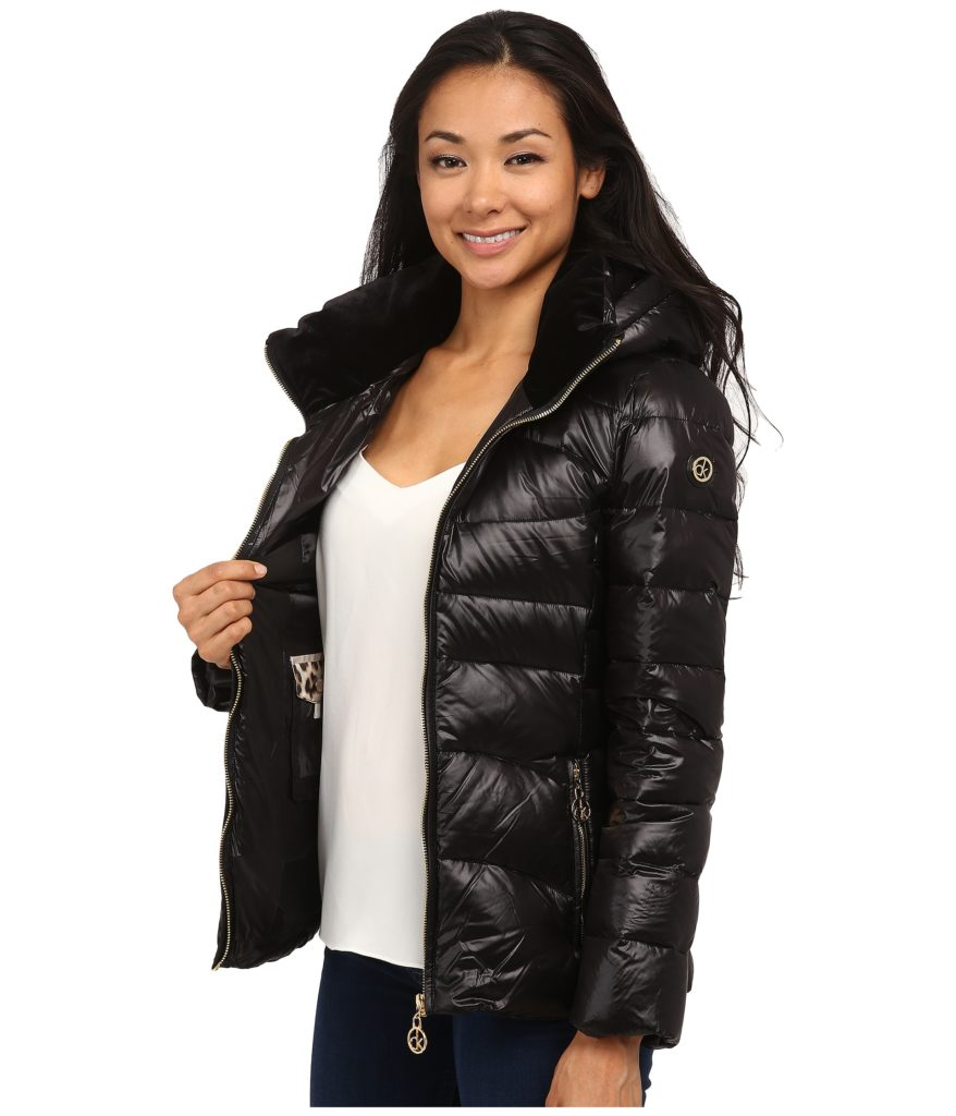 Calvin Klein Short Down Coat with Gold Hardware