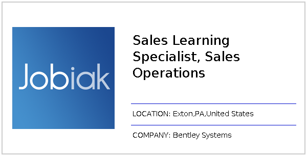 Sales Learning Specialist, Sales Operations job at Bentley