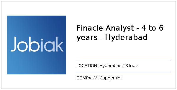 Finacle Analyst - 4 to 6 years - Hyderabad job at Capgemini