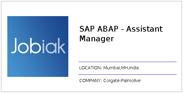 SAP ABAP - Assistant Manager job at Colgate-Palmolive in